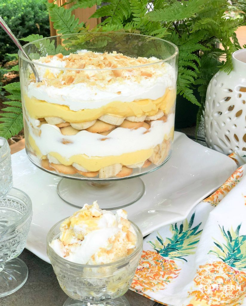 Banana Pudding Trifle is a much loved dessert that has layers of cookies, bananas, pudding and whipped cream. This is one fresh dessert that will have folks begging for seconds!