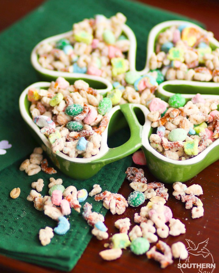 Lucky Charms Snack Mix made with cereal, pretzels, nuts and M&Ms for a sweet and salty treat that irresistible!