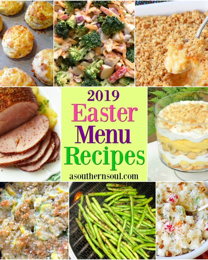 Easter Menu for 2019 includes 8 easy, make ahead dishes. Crock pot ham, cheddar biscuits, pineapple casserole, broccoli salad, squash casserole, roasted green beans and banana pudding are sure to make for a wonderful meal everyone will love.