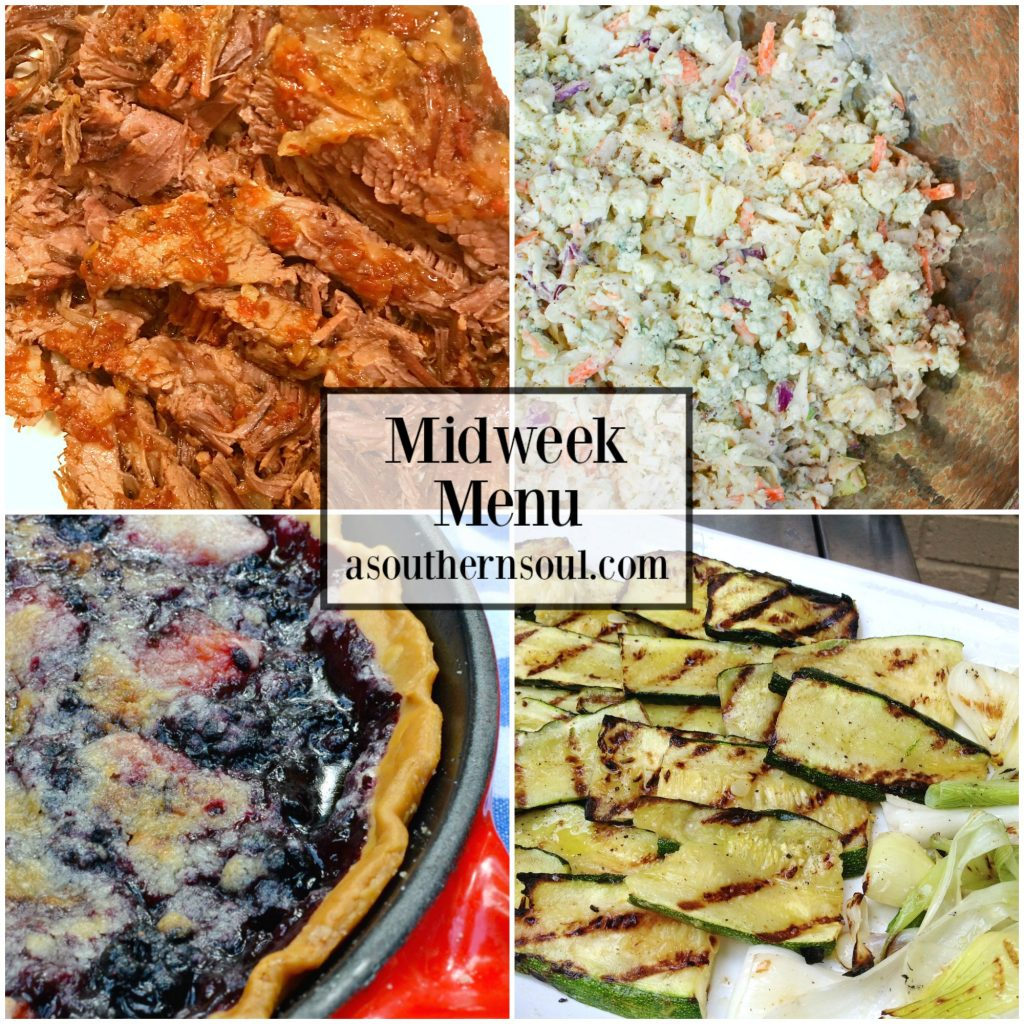 Three ingredient oven baked brisket, blue cheese cole slaw, grilled zucchini and blackberry skillet pit are the recipes on Midweek Menu this week!