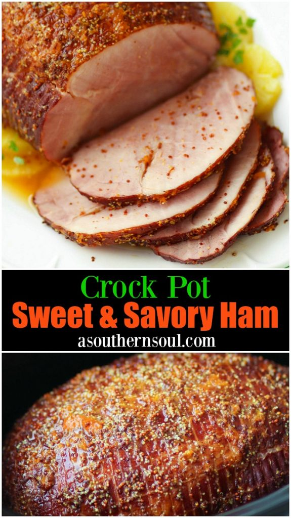 Crock Pot Sweet & Savory Ham is cooked in the slow cooker with pineapple juice, apricot preserves and whole gain mustard. It's the perfect dish to serve on any holiday and great for covered dish supper, picnics and makes wonderful sandwiches!