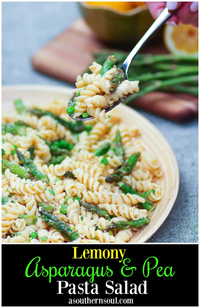 Tender pasta, with fresh sauteed asparagus and sweet peas tossed in a bright lemony dressing is a salad that's easy to make and full of flavor!