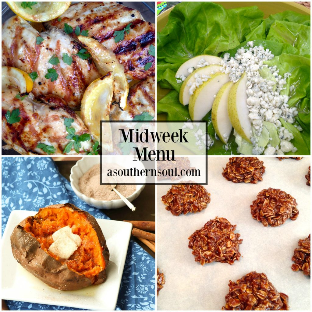 Midweek Menu #48 with grilled lemon chicken, air fryer sweet potato, butter lettuce and pear salad plus no-bake chocolate cookies. No stress cooking for a busy week.
