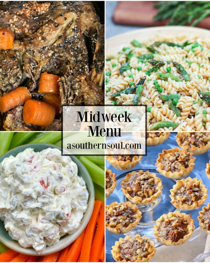 Midweek Menu #47 with slow cooker pot roast, pasta salad, cream cheese appetizer and pecan tarts.