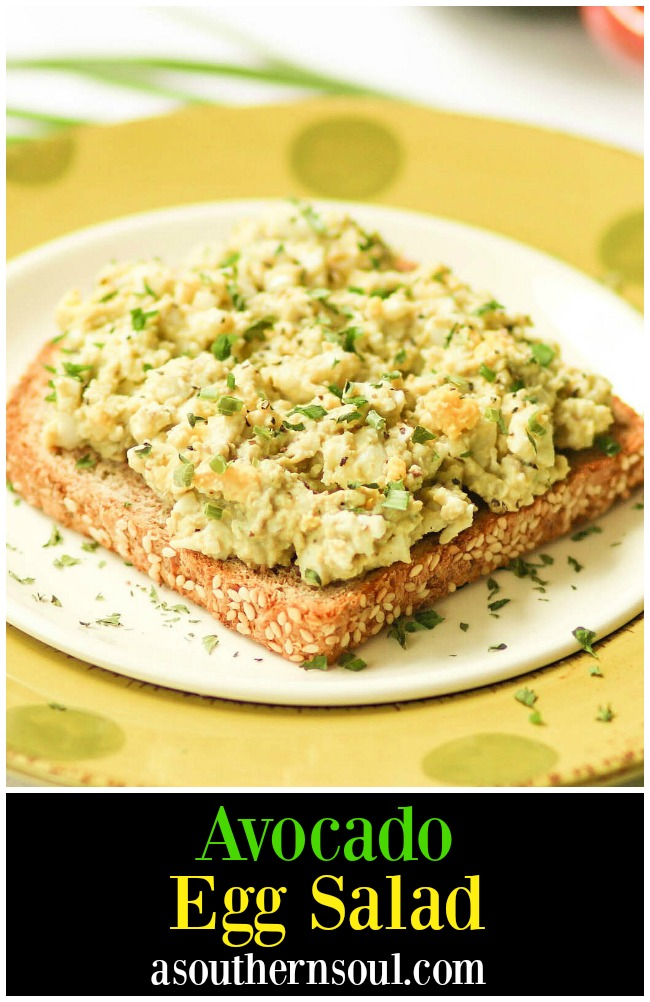 Creamy, light egg salad taken to a whole new level with avocado. Add in fresh chives and lemon juice for a new twist on a classic recipe!