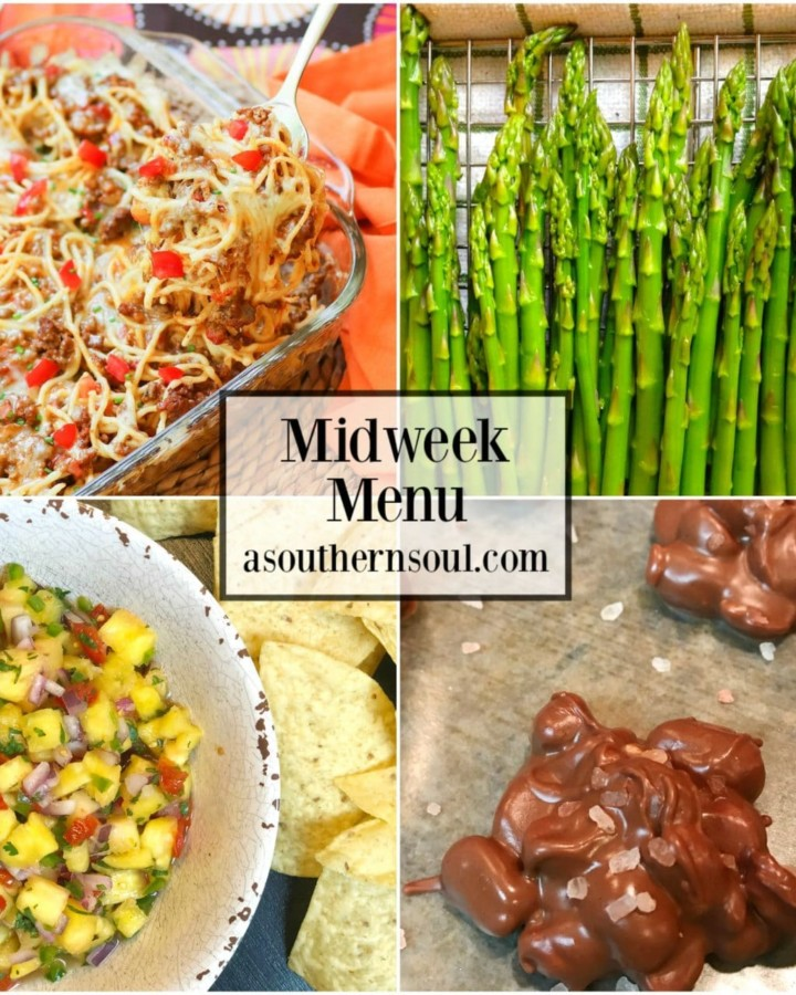 Midweek Menu #54 features Taco Spaghetti Bake, Roasted Asparagus, Pineapple Salsa and Crock Pot Peanut can. A menu that fun and yummy for a busy weeknight meal.