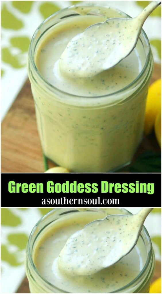 Green Goddess Dressing made with chives, parsley, garlic mayonnaise, sour cream and a few other ingredients is a classic recipe for salads, fish and pasta.