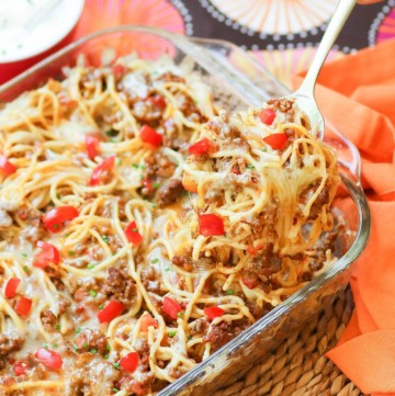 Taco Spaghetti Bake is an easy to make casserole made with ground beef, taco seasoning, pasta and cheese that's a family favorite dish!