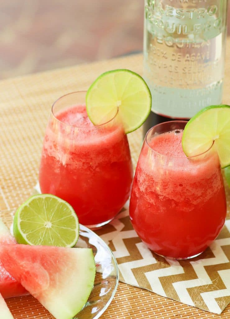 Watermelon Cooler Cocktail is the perfect summer sipper. Make with fresh watermelon, lime juice and a bit of sugar and splash of tequila. For a drink the kids will love, just leave out the alcohol!