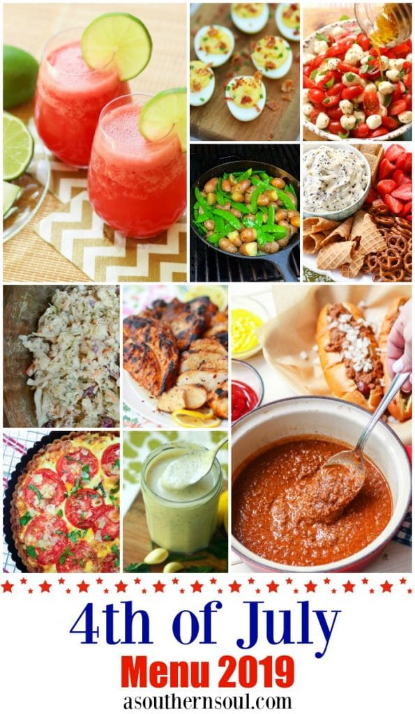 Eleven recipe come together to make a 4th of July menu that your friends and family will love. A fresh, fruit drink, an appetizer and salad, slaw, a savory pie, grilled chicken, hot dog chili and a fresh banana pudding are perfect for a day celebrating the USA.