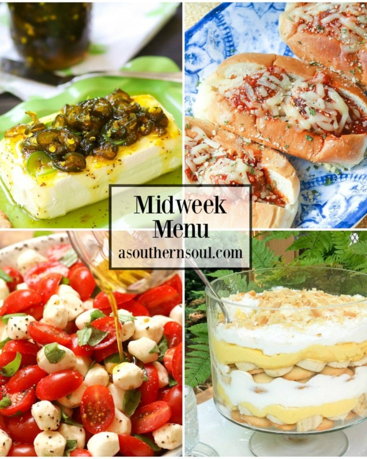 Midweek Menu #58 features Candies Jalapeños appetizer,Parmesan Meatball Subs, Caprese Salad and Banana Pudding Trifle for a menu the whole family will love.