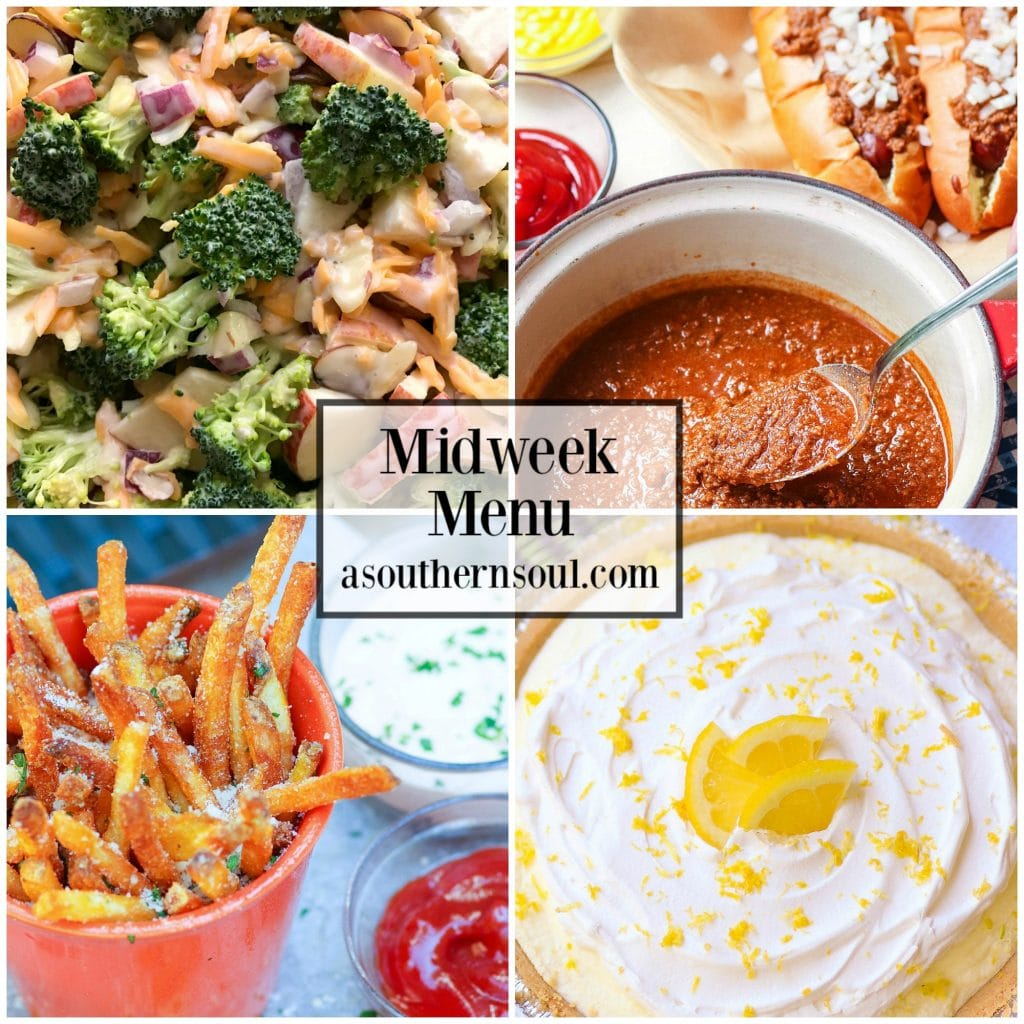Midweek Menu #60 features Hot Dog Chili, Broccoli Apple Salad, Air Fryer French Fries and Classic Lemon Icebox Pie.