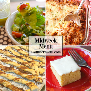 Midweek Menu #65 features fresh salad with homemade vinaigrette, Parmesan Cheese Straws, Baked Spaghetti and Caramel Snack Cake for a meal that's totally delicious.