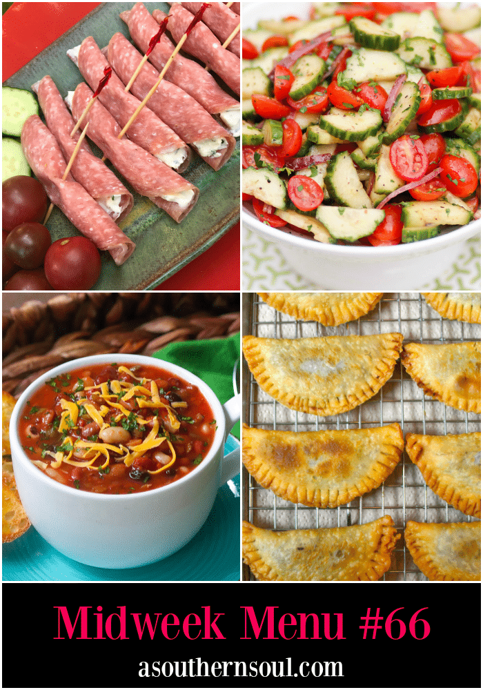 Midweek Menu #66 features Salami and Cream Cheese Appetizer, Tomato and Cucumber Salad, 15 Bean Soup and Cherry Fried Pies.