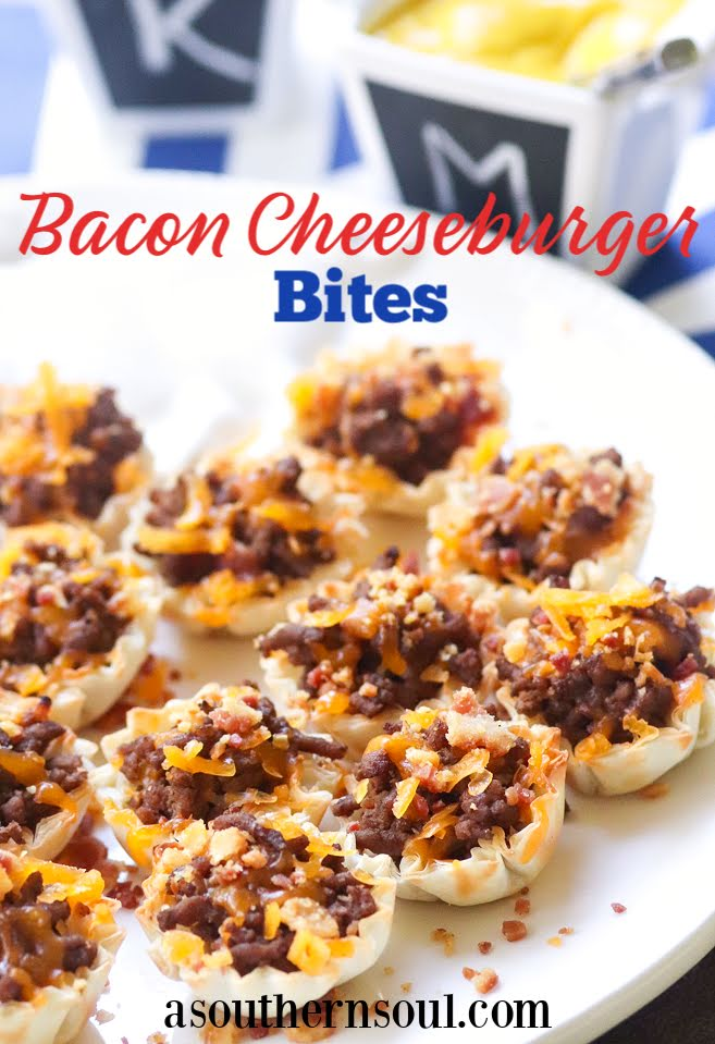Bacon Cheeseburger Bites made with ground beef, bacon and cheese stuffed phyllo cups are great for parties, tailgating and the perfect bite size snack!