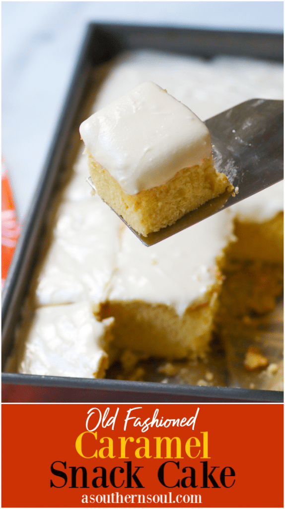 Old Fashioned Caramel Snack Cake made from scratch is rich with warm buttery flavor. With an added touch of homemade caramel, this cake is the perfect snack yet special enough for entertaining!