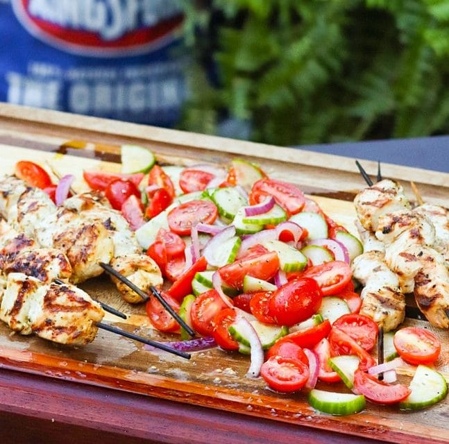 Grilled Chicken Souvlaki Skewers with Chopped Greek Salad