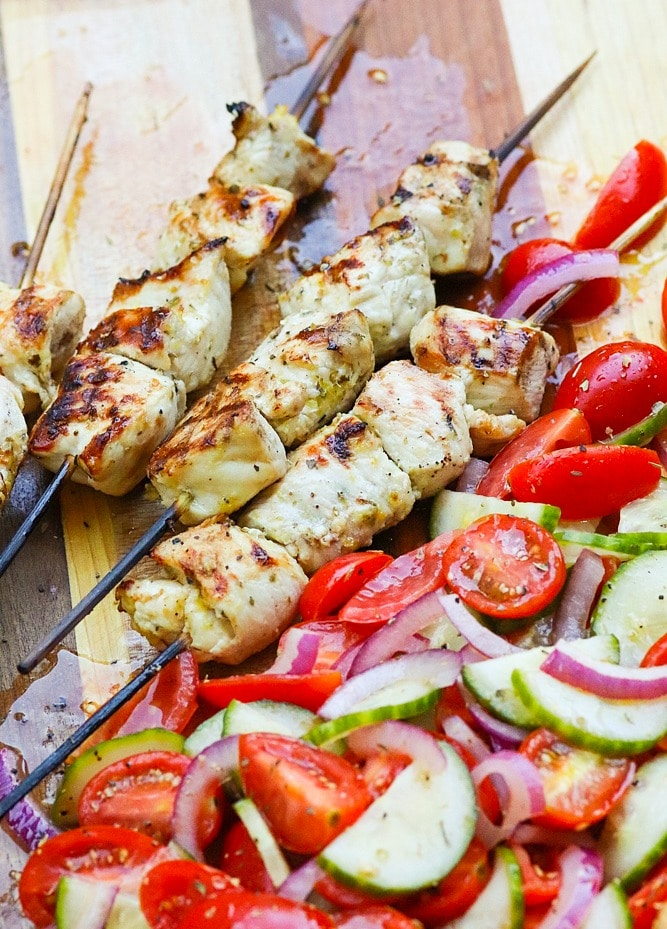 Grilled Chicken Souvlaki Skewers With Chopped Greek Salad A Southern Soul