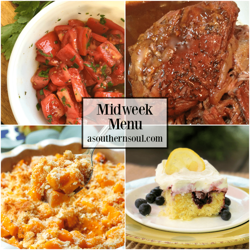 Midweek Menu #70 features a marinated tomato salad, slow cooker pork roast, browned butter butternut squash casserole and lemon blueberry poke cake.