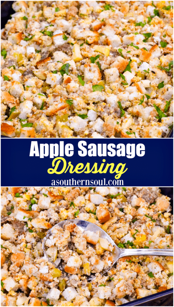 Apple Sausage Dressing is an easy to make recipe that's perfect for the holidays. Made with apples, sausage, herbs, spices and two kinds of bread, this side is great with turkey, pork and ideal served with gravy.