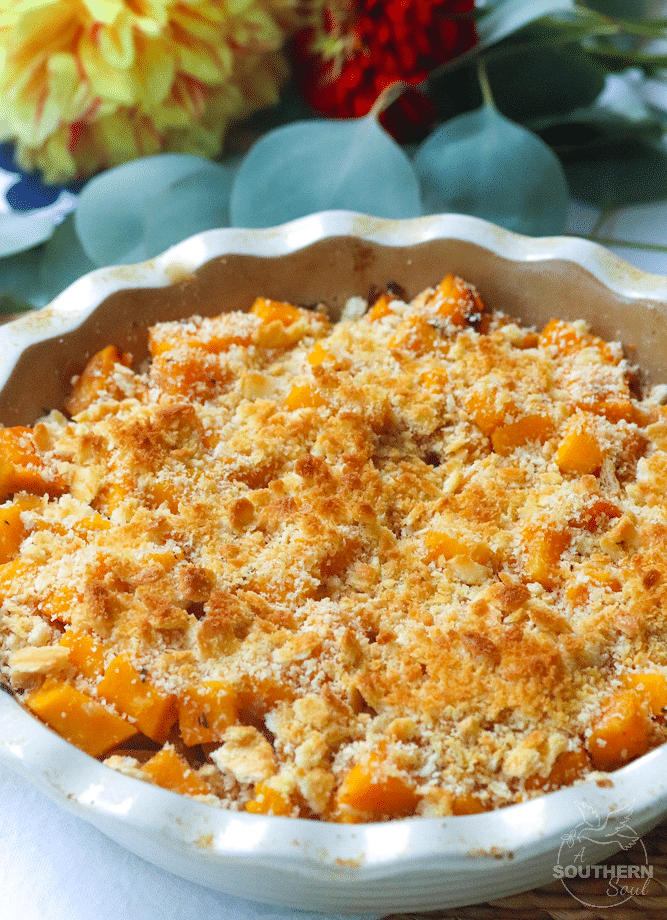 Brown Butter Butternut Squash Casserole with caramelized onions and a butter cracker crust is a fall recipe that's totally delicious!
