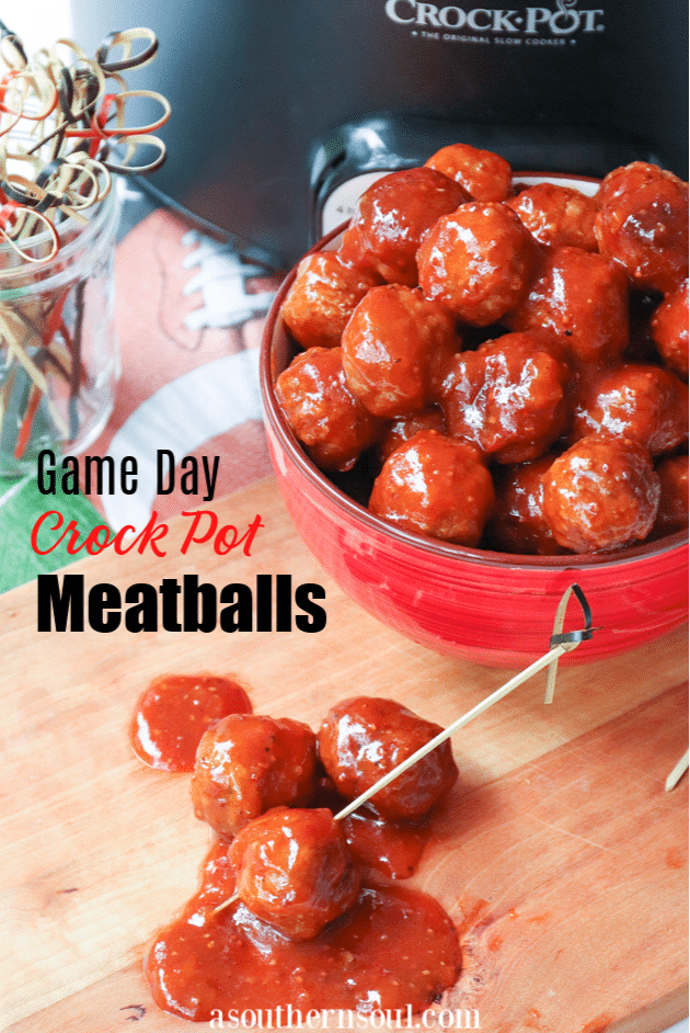 Beefy meatballs, cooked low and slow in the Crock Pot in a sauce made with BBQ sauce, apricot preserves and whole grain mustard are perfect for game day!