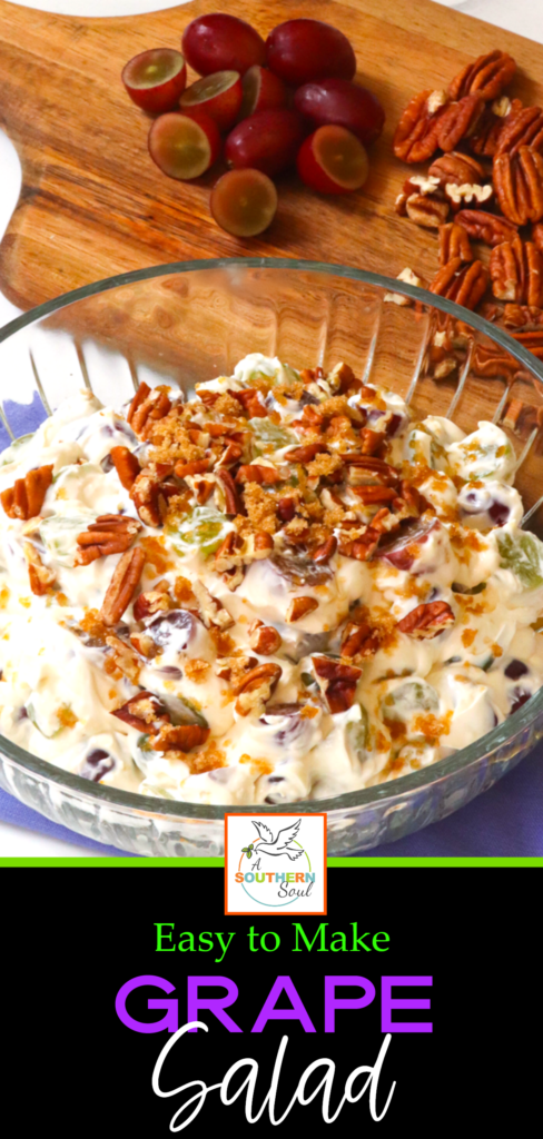 Simple Grape Salad is amazingly fresh, sweet and creamy with a crunchy topping that's irresistible! Served as a side dish or a dessert, this easy to make recipe is always a favorite at the holidays, potluck suppers, when you're entertaining and wedding or baby showers.