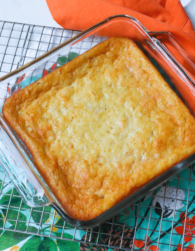 Sweet cornbread with creamed corn and sour cream is so easy to make! It's perfect with soup, chili and stew.