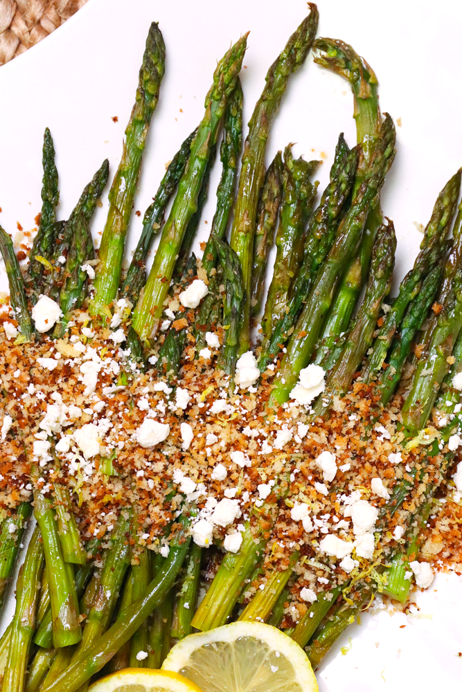 Roasted Asparagus topped with toasted Panko Breakcrumbs, Lemon and Feta cheese is a flavorful side dish that easy to make!