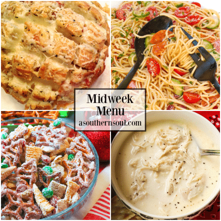 Midweek Menu #76 features Cheesy Pull Apart Bread, Southern Style Chicken Stew, Spaghetti Salad and Christmas Snack Mix.