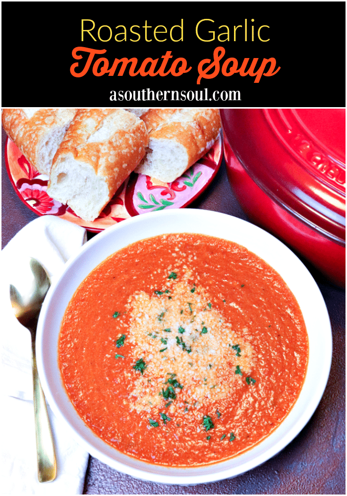 Roasted Garlic Tomato Soup made with tomatoes, onion, roasted garlic, cream and vegetable stock is so easy to make you'll never go back to the canned stuff again.