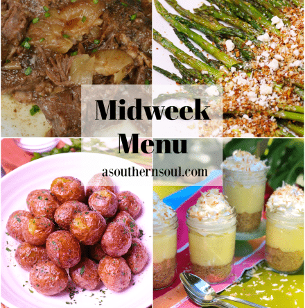 Midweek Menu #79 features Busy Day Pot Roast made in the slow cooker, Roasted Asparagus with Feta, Air Fryer New Potatoes and no-Bake Coconut Cream Pie in Jars.