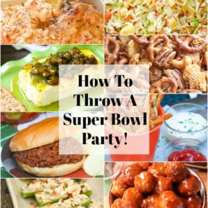 Throw a fun and delicious Super Bowl Party with these 7 easy to make recipes and helpful items from Amazon! Appetizers, sloppy joes, meatballs, and crunchy snacks are featured.