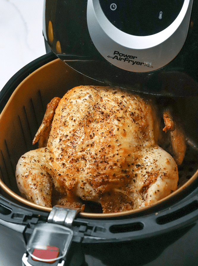 Easy to make Air Fryer Whole Chicken flavored with Montreal Steak Seasoning. Cooked in 50 minutes is tender and juicy with a crispy, flavor packed skin.