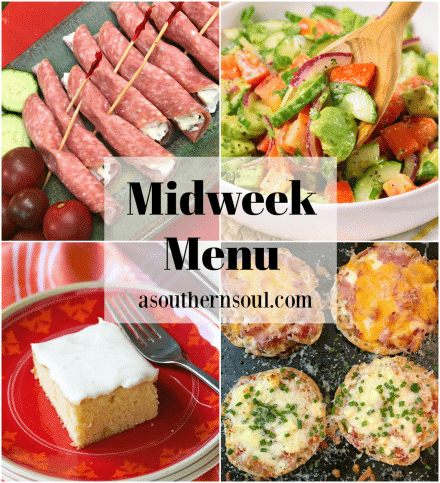 Midweek Menu #81 features Salami and Herb Cheese Appetizer, Cucumber Tomato Avocado Salad, Engligh Muffin Pizzas and Classic Caramel Snack Cake.