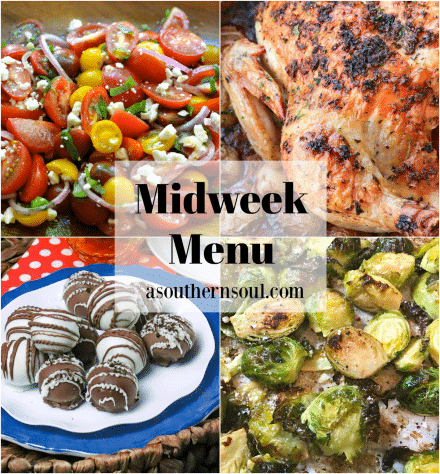 Midweek Menu #82 features a fresh salad made with heirloom tomatoes, roasted chicken with potatoes, brussel spouts and chocolaty Oreo balls.