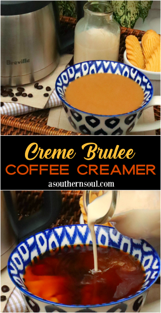 Creme Brulee Coffee Creamer made with 4 ingredients makes the best cup of coffee! Made with evaporated milk, brown sugar, half and half and vanilla.
