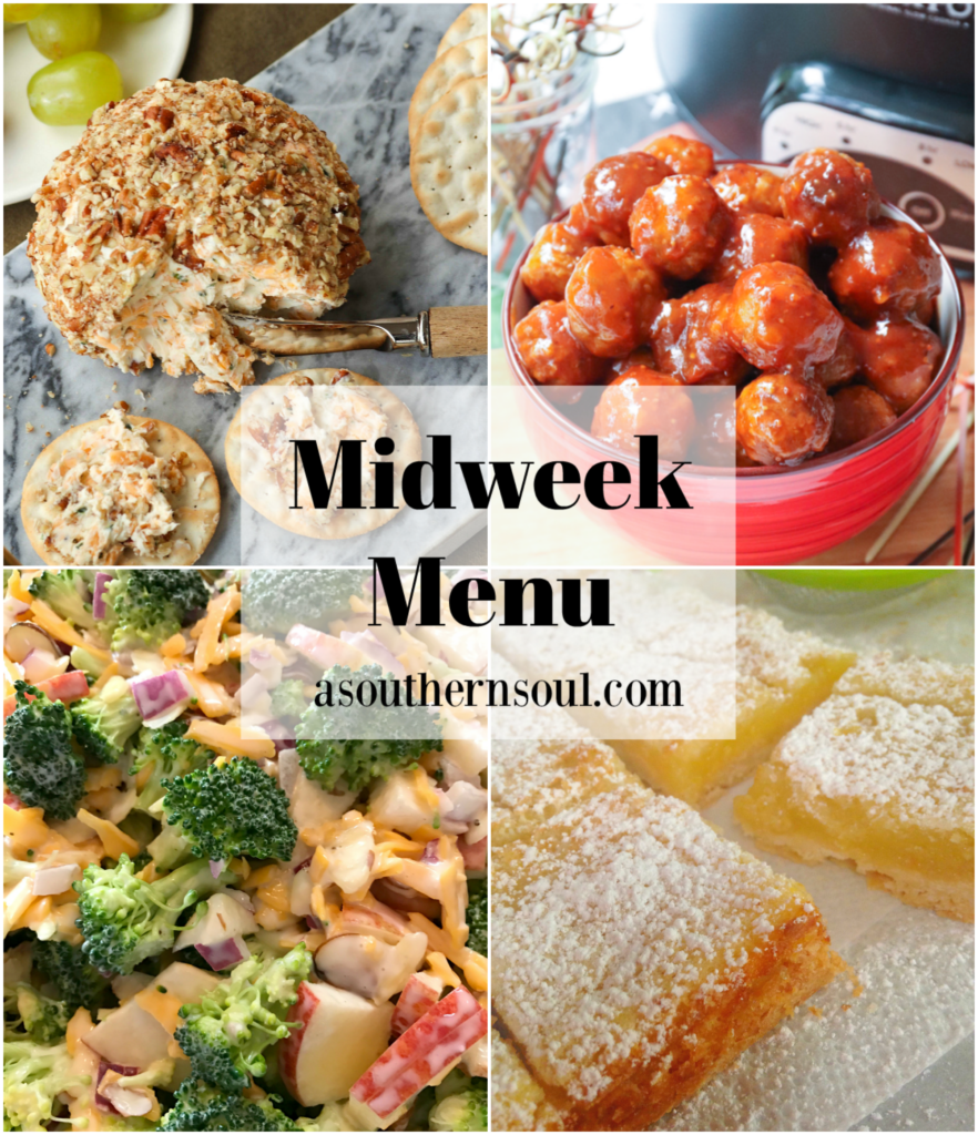 Midweek Menu #89 features a Cheddar And Chive Cheese Ball, Crockpot Meatballs, Broccoli Apple Salad and Lemon Squares