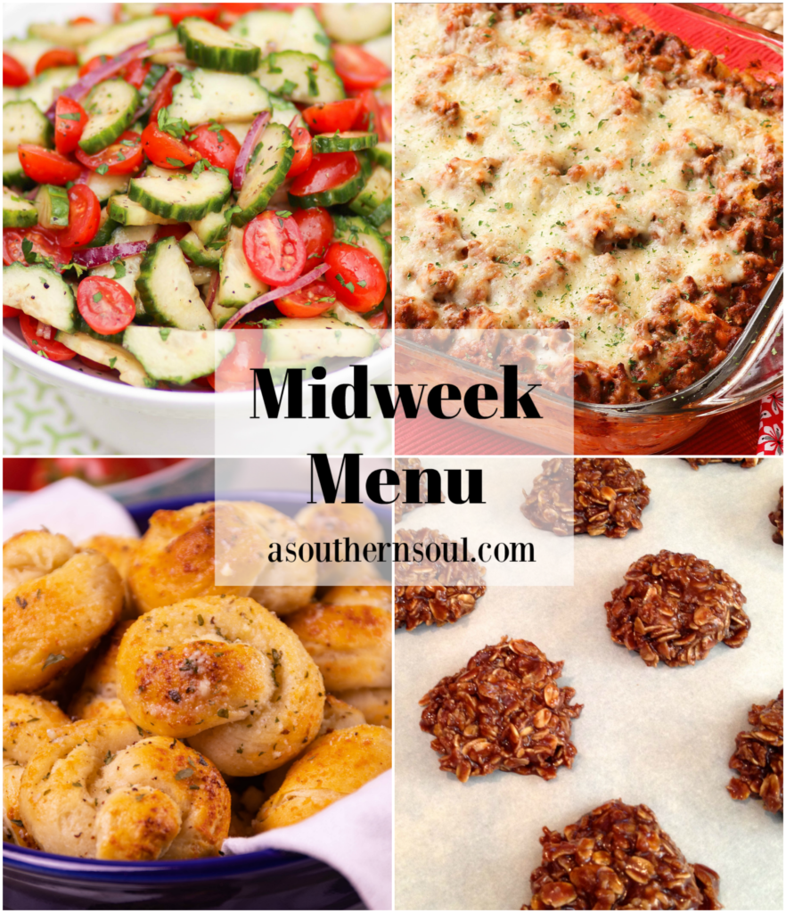Midweek Menu #90 is all about Italian Night! Featuring Tomato Cucumber Salad, Baked Pasta, Garlic Knots and No Bake Chocolate Cookies
