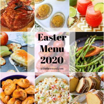 Easter Menu 2020 includes a cream cheese appetizer, classic Ambrosia salad, baked Mustard Brown Sugar Ham, Deviled Eggs, green beans, air fryer baby potatoes, garlic knots, watermelon cooler and orange pound cake.