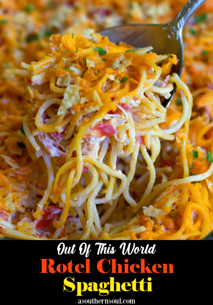 A delicious, easy to make casserole with spaghetti, chicken, Rotel tomatoes and chilie, cream cheese, sour cream and cheddar cheese. A great dish for potlucks, covered dish suppers or when you're feeding a crowd!