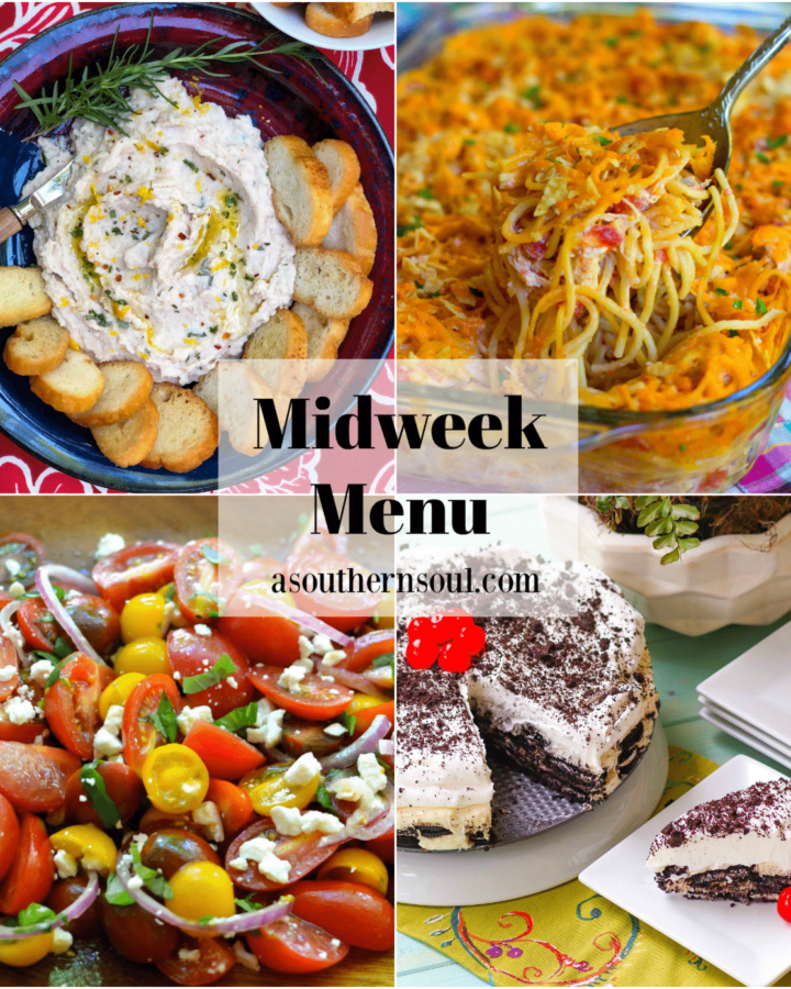 Midweek Menu #92 features White Bean Dip as an appetizer, Rotel Chicken Spaghetti, Heirloom Tomato Salad and Oreo Icebox Cake. All easy to make and totally delicious!