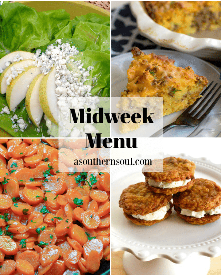 Midweek Menu #93 features a bib lettuce salad with pears and blue cheese, sausage cornbread quiche, honey glazed carrots and oatmeal ice cream sandwiches. All easy to make recipes your family will love!