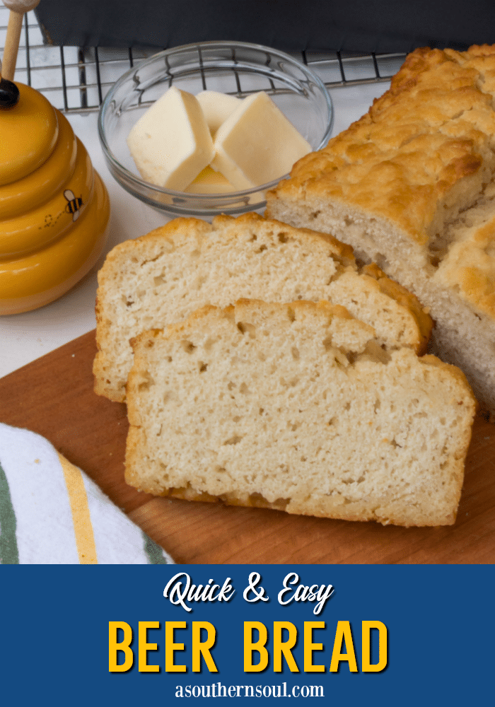 Quick and Easy Beer Bread made with flour, baking powder, salt, sugar and beer is so delicious. It's great with soups, stews and chili and is great for dipping into your favorite hot or cold dips.
