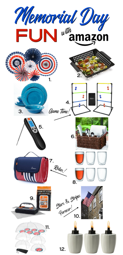Memorial Day Fun with Amazon includes red, white and blue decorations, dining plates and cups, grill accessories, food covers and tiki torches.