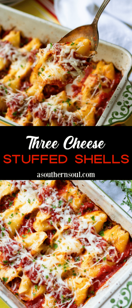 Tender pasta shells stuffed with ricotta, mozzarella and Parmesan cheese then baked in easy to make marinara sauce is a comfort food dish everyone will love!
