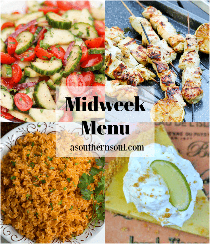 Midweek Menu #94 features a fresh salad with tomato, cucumber and onion, grilled Greek chicken skewers, Instant Pot Mexican Rice and homemade key lime pie with a graham cracker crust.
