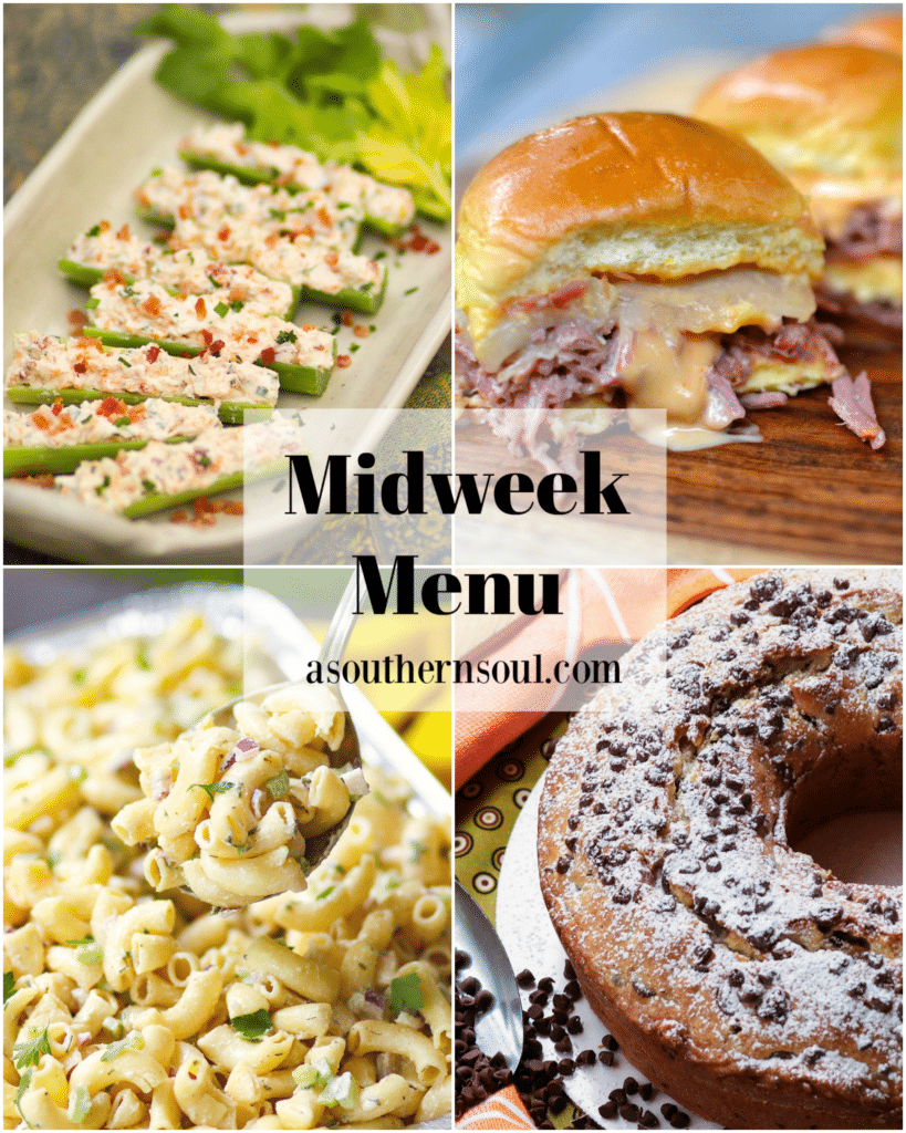 Midweek Menu #96 features Stuffed Celery, Crock Pot Corned Beef Reuben Sliders, Classic Macaroni Salad and Chocolate Chip Pound Cake.