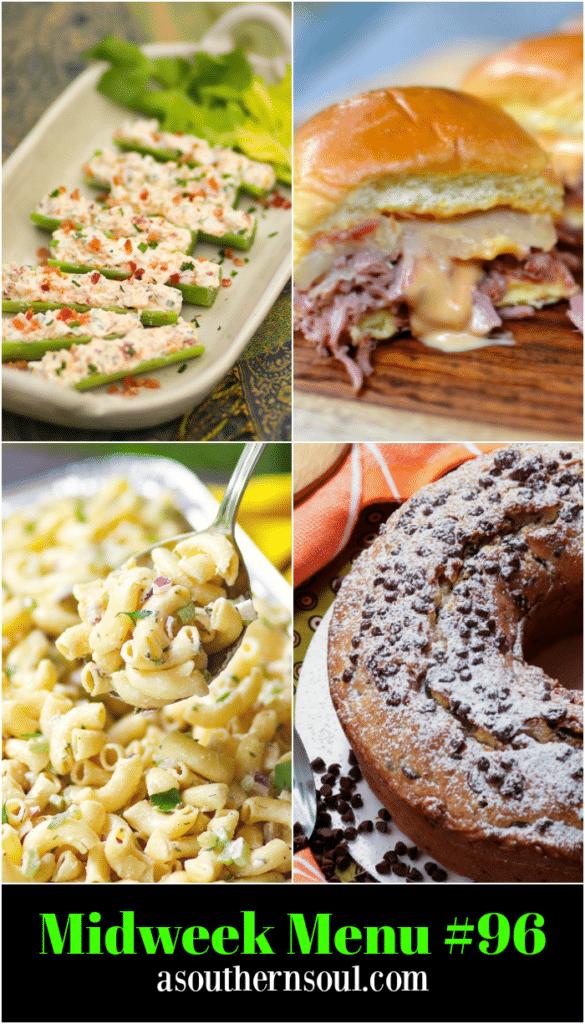 Midweek Menu #96 features Stuffed Celery, Crock Pot Corned Beef Reuben Sliders, Classic Macaroni Salad and Chocolate Chip Pound Cake.