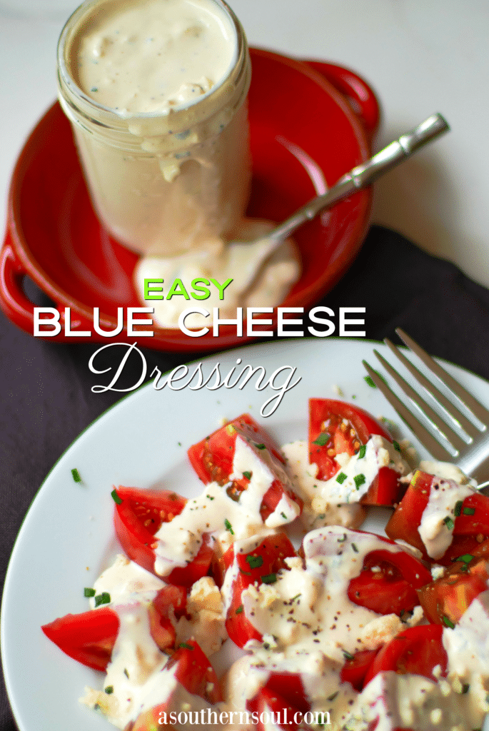 Easy Blue Cheese Dressing made with crumbled blue cheese, sour cream, mayonnaise, garlic powder, cream, chives, salt and pepper is so good! Drizzled it on lettuce for an amazing salad or serve as a dip with fresh veggies.
